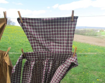 "Pinner Apron - burgundy, green & natural homespun check - 50"" total length - 82"" long ties - Colonial / Civil War / Prairie reenactment"