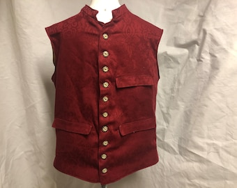 Size 50 - Nehru Vest / Waistcoat, Burgundy brocade cotton- 3 pockets - Historic / Victorian / Colonial / Urban / Hipster