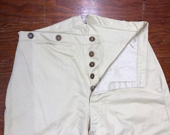 "31"" Waist - Button Fly Trousers - Tan Cotton Twill - two side pockets, watch pocket -bone buttons - Historic Civil War reenactment pants"
