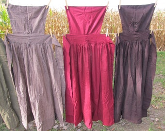 "Pinner Apron - burgundy homespun - 50"" total length - 82"" long ties - pins available - for Civil War / Colonial / prairie reenacting"