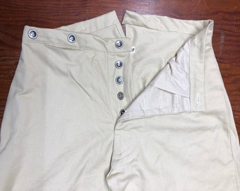 """32"""" Waist - Button Fly Trousers - Tan Cotton Twill - two side pockets, watch pocket - metal buttons - Historic Civil War reenactment pants"""