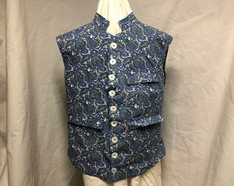 Size 48 - Nehru Vest / Waistcoat, Blue and green paisley cotton - 3 pockets - Historic / Victorian / Colonial / Urban / Hipster