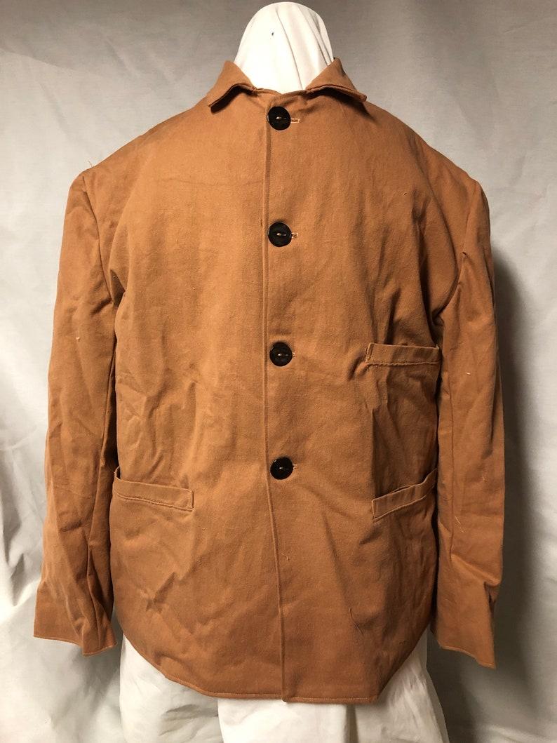 Victorian Mens Suits & Coats Size 42 - Sack Coat -tan cotton fabric - lined - three pockets - shell buttons - 1860s civilian Civil War reenacting Victorian jacket $166.00 AT vintagedancer.com