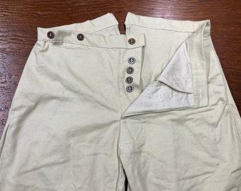"36"" Waist - Button Fly Trousers - Tan Cotton Twill - two side pockets, watch pocket -bone buttons - Historic Civil War reenactment pants"