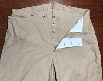 "44"" Waist - Button Fly Trousers - Brown twill cotton - 2 mule ear & watch pocket - metal buttons - Historic Civil War reenactment pants"
