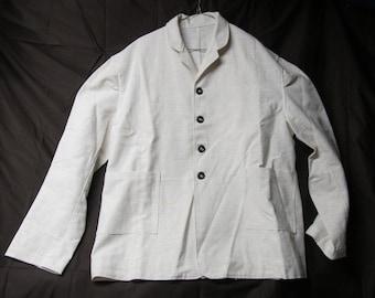 Size 46 - Civilian Sack Coat - Natural linen/cotton fabric - Civil War - unlined - 2 pockets - shell buttons - Victorian reenactment - Trek