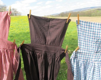 "Pinner Apron - black, brown, and red homespun stripe - 52"" total length - 82"" long ties"