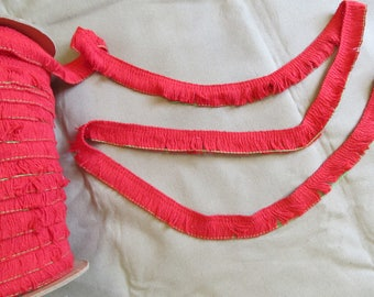 """1"""" Red cotton fringe - by the yard - sewing trim"""
