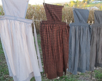 "Pinner Apron - brown & black large homespun check - 50"" total length - 84"" long ties - with or w/out pins - Colonial / Civil War reenacting"