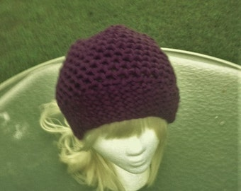 3eaaf7b0e75 Knit Hat Wine Color Loom Knit Beanie