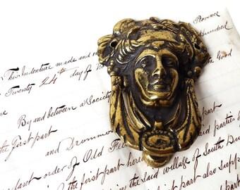 Antique Brass Door Knocker/ Solid Brass Door Hardware/ Ancient Roman Man's Face