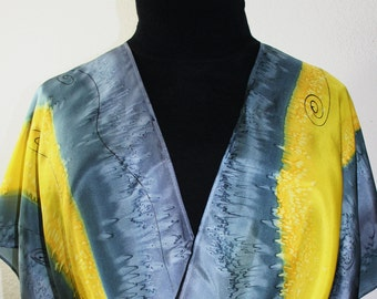 Silk Scarf Hand Painted. Steel Grey, Yellow Silk Shawl STEEL SUNSHINE. Large 14x72. Silk Scarves Colorado. Birthday Gift. Valentine Gift