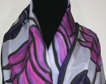 Silk Scarf Hand Painted Silk Shawl Purple Aubergine Lavender Silk Scarf WALTZ OF FLOWERS Large 14x72 Birthday Gift Scarf Gift-Wrapped Scarf