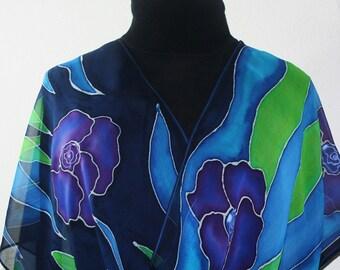 Purple, Blue, Green Silk Scarf Hand Painted Chiffon Silk Shawl PURPLE BOUQUET, in 2 SIZES. Handmade Birthday Gift, Gift-Wrapped