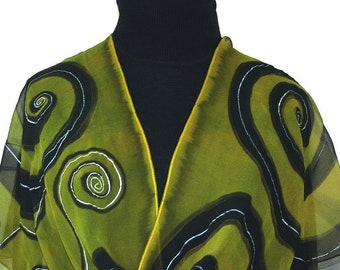 Silk Scarf Olive Black Hand Painted Shawl FOREST DANCE, by Silk Scarves Colorado. Select Your SIZE! Christmas, Anniversary, Bridesmaid Gift