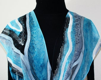 Blue, Grey, Black Hand Dyed Silk Scarf SNOWY COLORADO, in Several SIZES. Hand Painted Chiffon Silk Scarf. Birthday Gift, Valentine Gift