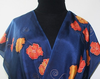 Royal Blue, Orange, Yellow Hand Painted Silk Scarf ORANGE NIGHT, in 4 SIZES. Handmade by Silk Scarves Colorado. Birthday Gift, Wedding Gift