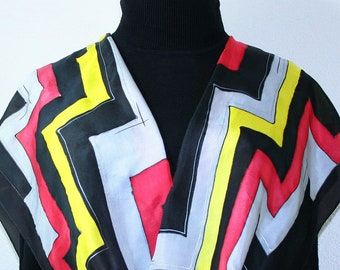 Silk Scarf Black Yellow Red Hand Painted Handmade GOLF MASTER. Select Your SIZE! Silk Scarves Colorado Birthday, Christmas, Anniversary Gift