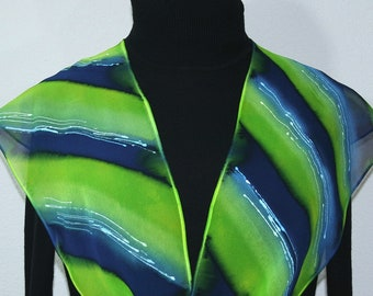 Silk Scarf Green Navy Blue Hand Painted SUMMER MEADOWS by Silk Scarves Colorado. Select Your SIZE! Birthday Gift, Spring Scarf, Summer Scarf