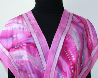 Silk Scarf Handmade Pink, Fuchsia, Purple Hand Painted Silk Shawl DREAM CLOUD in Several SIZES. Mother Gift. Bridesmaid Gift, Christmas Gift
