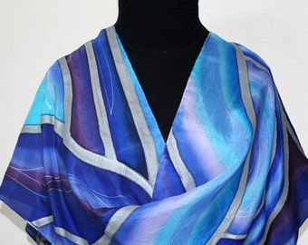 Silk Scarf Hand Painted. Blue Purple Silk Scarf MOON WAVES, in 3 SIZES. Birthday Gift. Anniversary Gift. Hand Dyed Scarf. Gift Wrapped