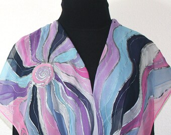 Lavender, Pink, White Hand Painted Chiffon Silk Scarf LAVENDER RIVERS. Large 14x72. Handmade Birthday Gift, Mother Gift. Bridesmaid Scarf.