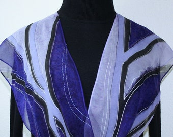Silk Scarf Purple Lavender Hand Painted Silk Shawl LAVENDER FIELDS Silk Scarves Colorado. Select Your SIZE! Christmas Gift, Anniversary Gift