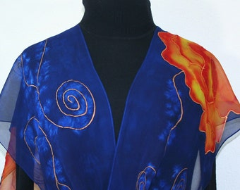 Silk Scarf Navy Blue Orange Hand Painted Chiffon Scarf LOVE FLOWERS, by Silk Scarves Colorado. Select Your SIZE! Birthday, Christmas Gift