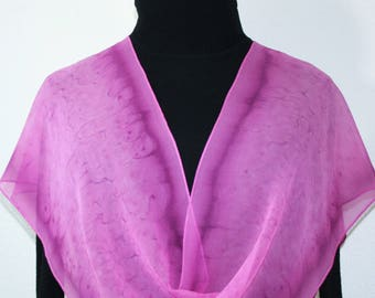 Pink Silk Scarf Hand Painted Chiffon PINK AIR, in Several SIZES, by Silk Scarves Colorado. Wedding Gift, Bridesmaid Gift, Birthday Gift.
