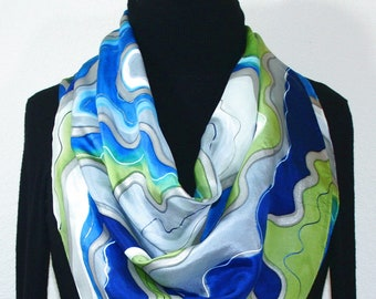 Hand Painted Silk Scarf. Olive Navy Blue Turquoise White Handmade Silk Scarf DENIM CHIC. Birthday Gift. Gift-Wrapped. Offered in Two SIZES