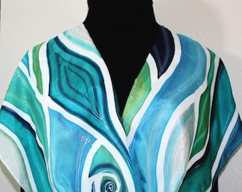 Silk Scarf Teal, Navy, Blue, White Hand Painted Silk Shawl NATURE GODDESS, in 3 SIZES, by Silk Scarves Colorado. Elegant Gift, Birthday Gift
