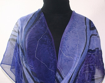 Purple, Lavender Hand Painted Chiffon Silk Shawl LAVENDER FIELDS, in Several SIZES. Birthday Gift, Bridesmaid Gift, Wedding Scarf
