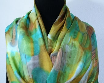 Silk Scarf Handpainted Green Beige Gold Handmade Silk Wrap GREEN SANDS, by Silk Scarves Colorado. Select Your SIZE! Birthday, Christmas Gift