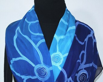 Blue Chiffon Silk Scarf Hand Painted Silk Shawl UNDERWATER FLOWERS by Silk Scarves Colorado. Select Your SIZE! Birthday Gift, Christmas Gift