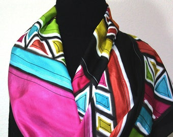Silk Scarf Black, Orange, Pink Hand Painted Silk Shawl TEQUILA MORNING, in 2 SIZES. Silk Scarves Colorado. Birthday Gift. Gift-Wrapped.