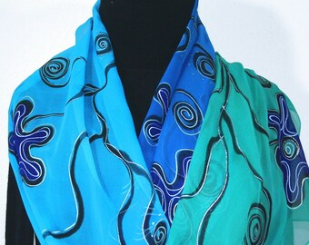 Blue Teal  Silk Scarf Hand Painted Chiffon Silk Shawl OCEAN BLISS by Silk Scarves Colorado. Select Your SIZE! Birthday Gift, Bridesmaid Gift