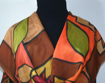 Silk Scarf Brown Terracotta Green Hand Painted Shawl PICTURE PERFECT, by Silk Scarves Colorado. Select Your SIZE! Birthday, Christmas Gift