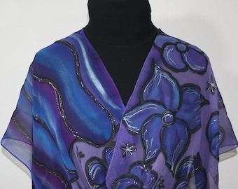 Hand Painted Silk Scarf Purple Blue Chiffon Silk Shawl MAGIC DREAMS, Large 14x72, by Silk Scarves Colorado. Anniversary, Birthday Gift.