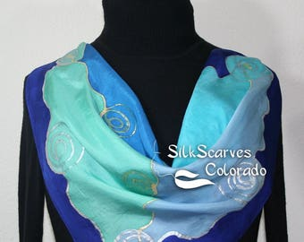 Silk Scarf Hand Painted, Silk Shawl Blue Teal Hand Dyed Silk Scarf OCEAN DANCE, in 3 SIZES. Mother Gift Bridesmaid Gift Free Gift-Wrapping