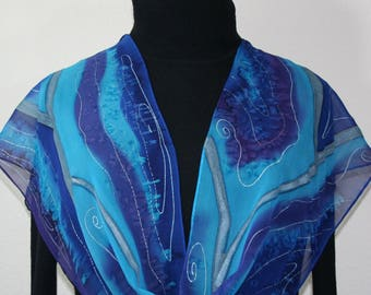 Blue, Turquoise, Purple Hand Painted Silk Shawl. Sapphire Blue Handmade Silk Scarf PURPLE SURF, in several SIZES. Birthday, Bridesmaid Gift.