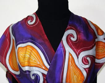 Silk Scarf Handpainted Purple, Burgundy, Orange Handmade Shawl MYSTIC SUNDANCE, Silk Scarves Colorado. Size 11x60. Birthday, Christmas Gift