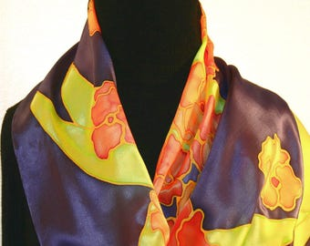 Handpainted Silk Scarf. Aubergine Purple, Yellow Handmade Silk Scarf, SUMMER GARDEN. Size 11x60. Anniversary Gift, Mother Gift. Gift-Wrapped