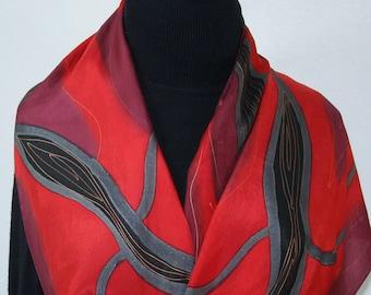 Red Black Hand Painted Silk Scarf MERLOT KISS. Handmade Silk Scarf, in 4 SIZES. Christmas Gift, Birthday Gift, Anniversary, Valentine's Gift