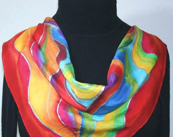 Square Silk Scarf Red Yellow Green Handpainted Shawl PASSION WINDS by Silk Scarves Colorado. Select Your SIZE! Birthday Gift, Christmas Gift
