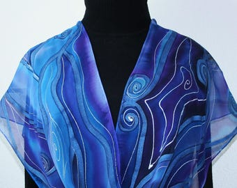 Silk Scarf Hand Painted. Blue, Purple Hand Dyed Silk Shawl PASSION STORM, in Several SIZES. Anniversary Gift, Birthday Gift, Christmas Gift