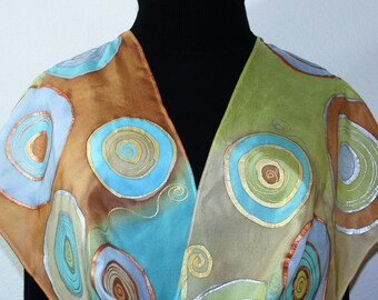 Hand Painted Silk Scarf Beige Olive Terracotta Handmade Shawl CIRCLES Of LIFE by Silk Scarves Colorado. Select Your SIZE! Anniversary Gift