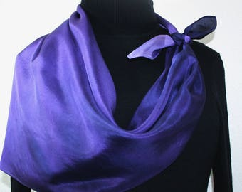 Purple, Lavender Hand Painted Silk Scarf. Handmade Square Silk Shawl PURPLE SHADOWS. Silk Scarves Colorado. Offered in Two Sizes.