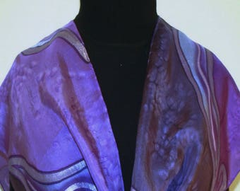 Purple Silk Scarf Handpainted. Handmade Shawl MAGIC LANDS, in 2 SIZES. Birthday Gift, Mother's Day Gift, Bridesmaid Gift, Christmas Gift