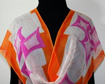 Silk Scarf Orange Pink Chiffon Silk Shawl STRAWBERRY PEACH Size 11x60. Birthday Gift. Bridesmaid Gift. Christmas Gift. Silk Scarves Colorado