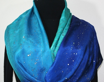 Blue Teal Silk Scarf Hand Painted Hand Dyed Silk Shaw SHINING STARS, in 2 SIZES. Birthday Gift, Christmas Gift, Anniversary Gift Handmade